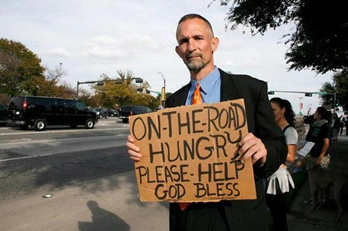 Street Beggar Sign Holder Business Suit - On The Road Hungry Need Help