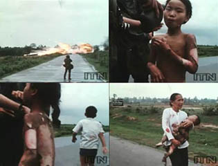 2nd Photo, Vietnam, boy and girl running from napalm attack.